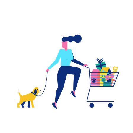 Woohoo Shopping Character with pet dog and pet accessories in trolley Illustration