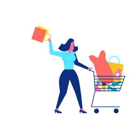 Woohoo Shopping Character with woman accessories in trolley Illustration