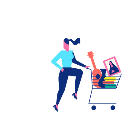 Woohoo Shopping Character woman with guitar and paintings in shopping trolley Illustration