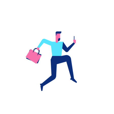 Woohoo Shopping Characterperson running while holding mobile Illustration