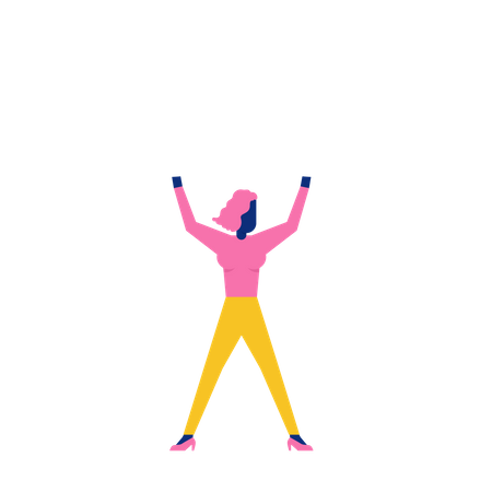 Woohoo Shopping Characters cheerful woman and hands up Illustration