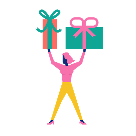 Woohoo Shopping Characters holding gift boxes Illustration