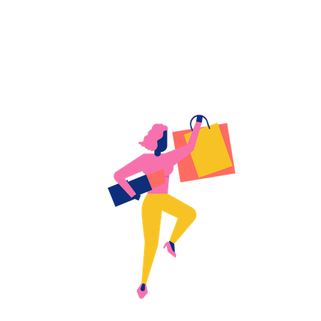 Woohoo Shopping Characters holding lipstick and shopping bags Illustration