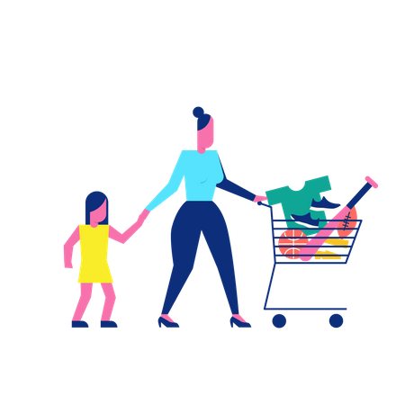 Woohoo Shopping Characters lady with her daughter and sports game things in trolley Illustration