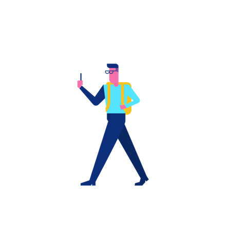 Woohoo Shopping Characters walking with mobile Illustration