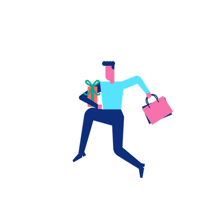 Woohoo Shopping cheerful Character with shopping bag and gifts Illustration