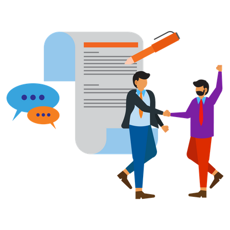 Work agreement between employers Illustration