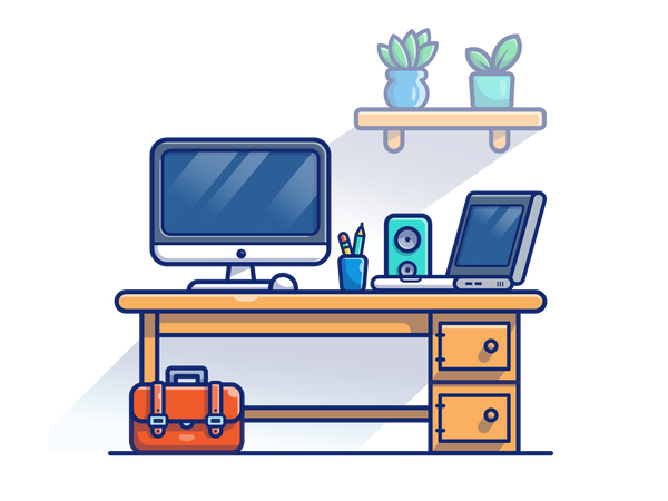 Work desk Illustration