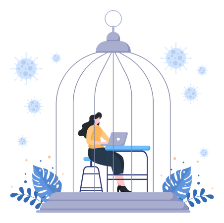 Work From Home In Lockdown Illustration