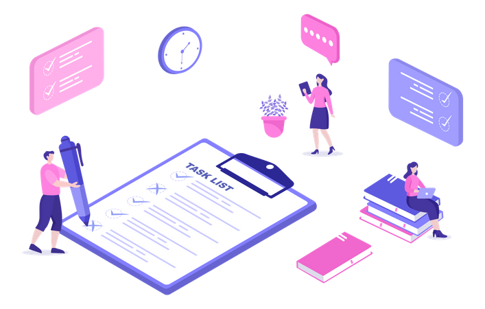 Work Management from task list Illustration