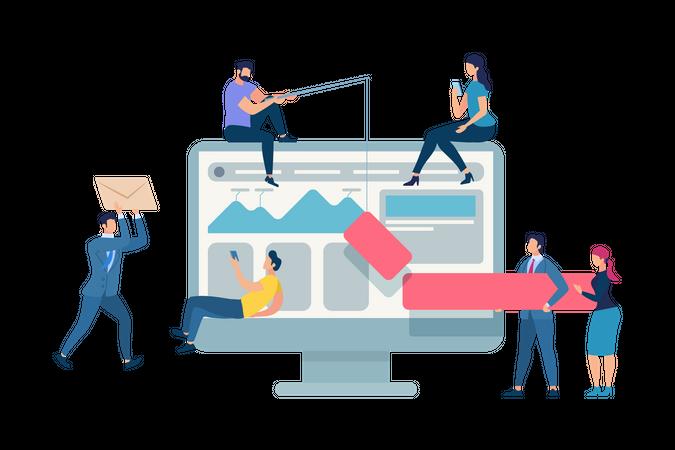 Work Meeting Improve Business Process Optimization Illustration