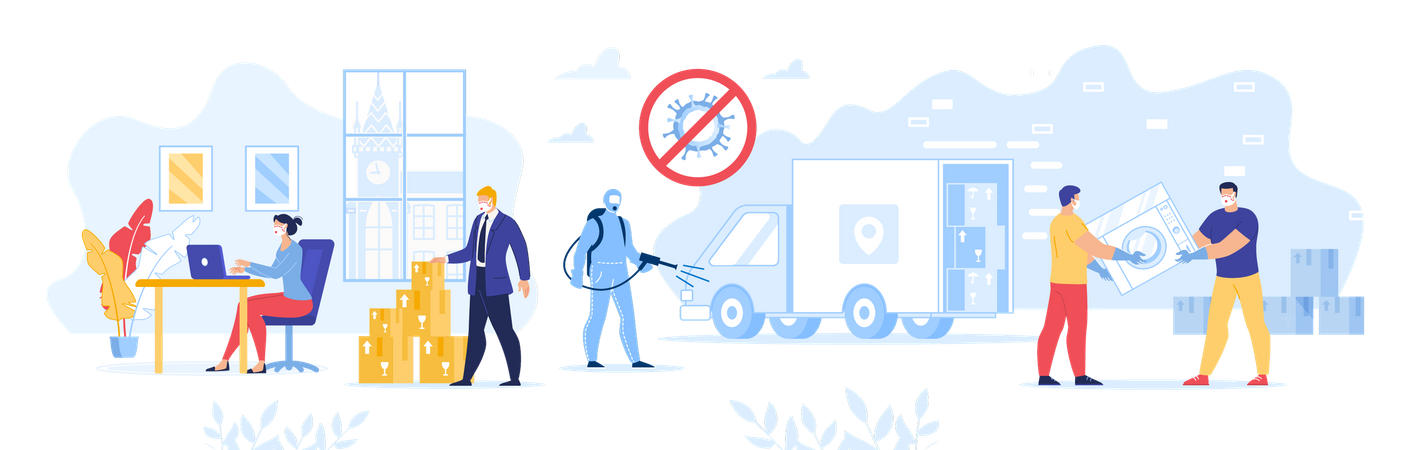 Work of Delivery Service Warehouse during Coronavirus Illustration