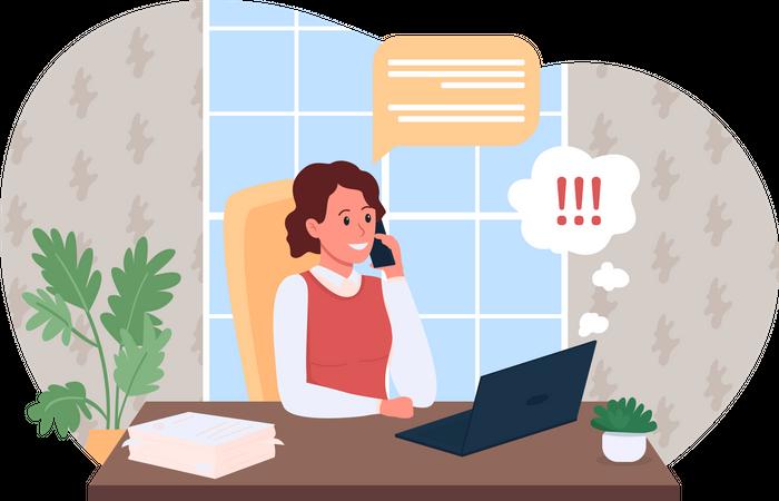 Work phone call Illustration