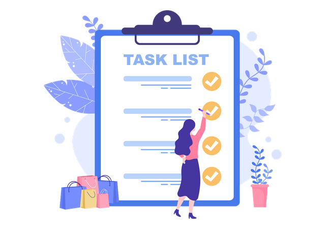 Work task completed mark by task manager Illustration