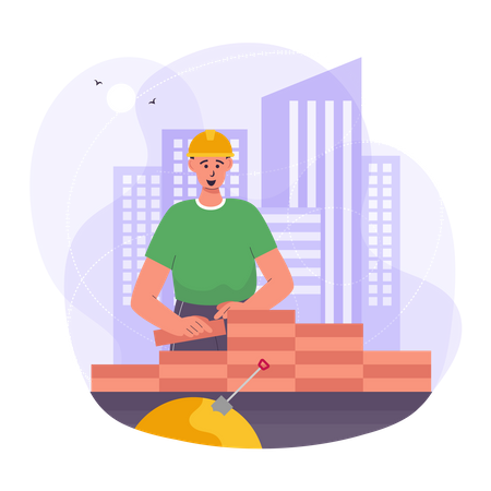 Worker building wall at construction site Illustration