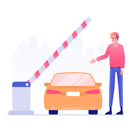 Worker checking car at toll plaza Illustration