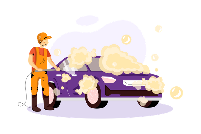Worker Cleaning car with spraying air Illustration