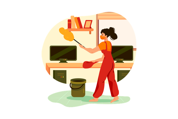 Worker cleaning the office with feather brush Illustration