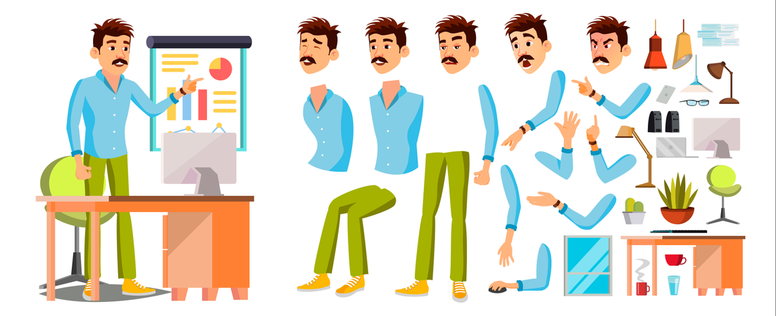 Worker Different Body Parts Used In Animation Illustration