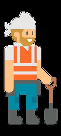 Worker holding shovel Illustration