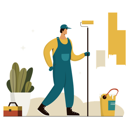 Worker Painting House Illustration