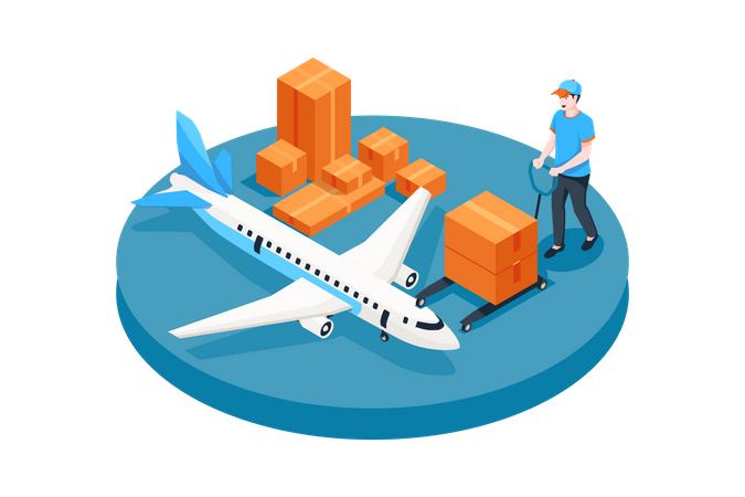 Worker putting boxes in cargo plane Illustration