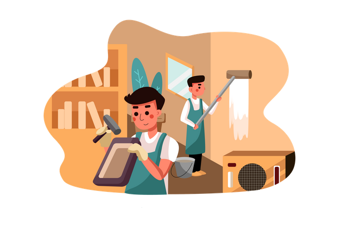 Worker renovating house Illustration