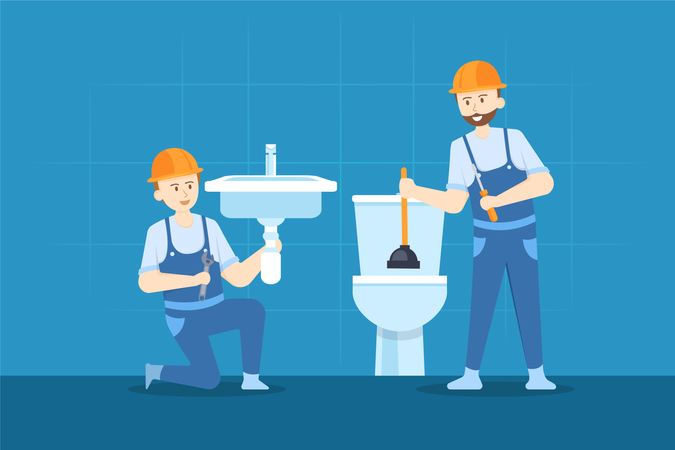 Worker Repairing sink and cleaning toilet Illustration