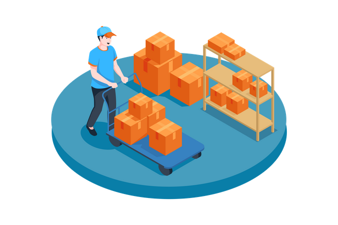 Worker walking with boxes trolley Illustration