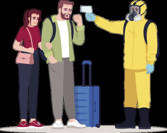 Worker wearing biohazard suit checking passenger temperature Illustration