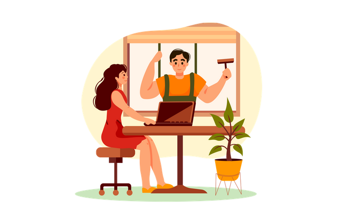 Worker wiping the office window Illustration