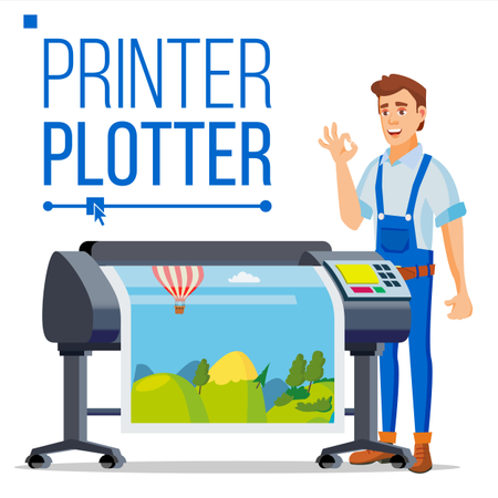 Worker With Plotter Vector Illustration