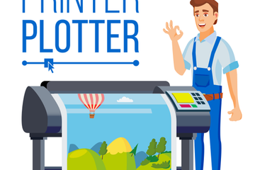 Workers With Plotter Set Vector Illustration Pack
