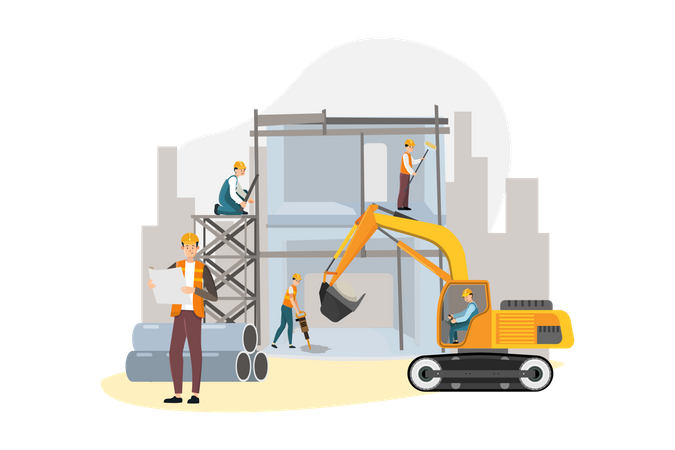 Worker working in construction project Illustration