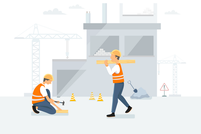 Worker working on Construction site Illustration