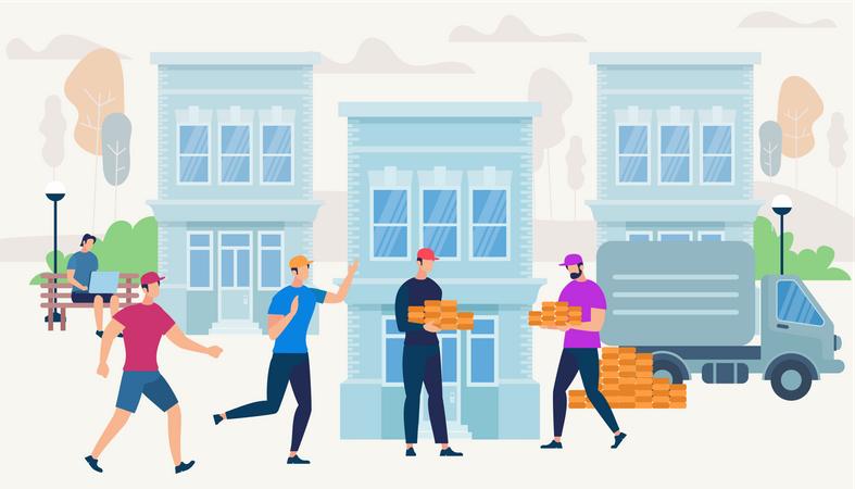 Workers Bring Bricks by Van Car to Build House Illustration