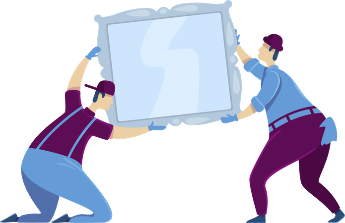 Workers hanging mirror Illustration