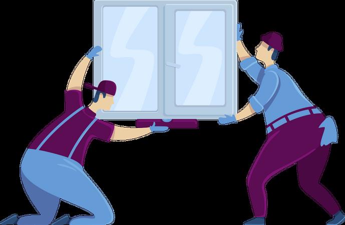 Workers installing window Illustration