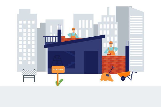 Workers making brick wall at construction site Illustration