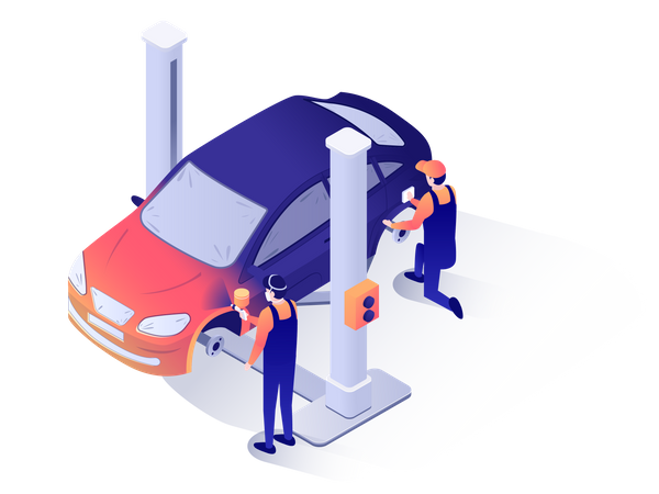 Workers of car service center painting car Illustration