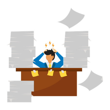 Workers stressed because piles of work Illustration