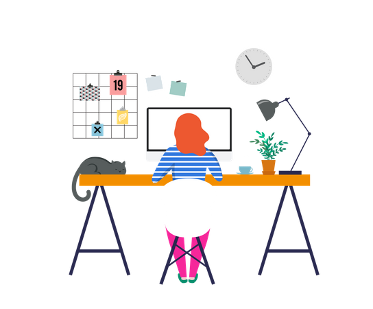 Working at home Illustration