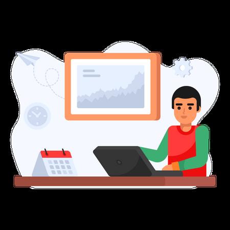 Working Business Employee Illustration