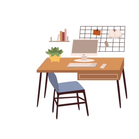 Working Desk Illustration
