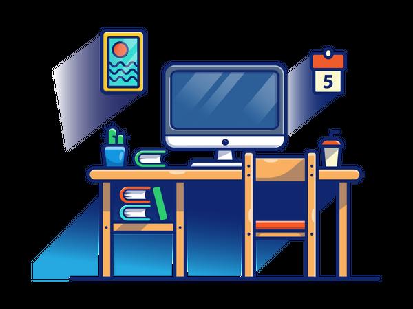Working desk with book selves Illustration