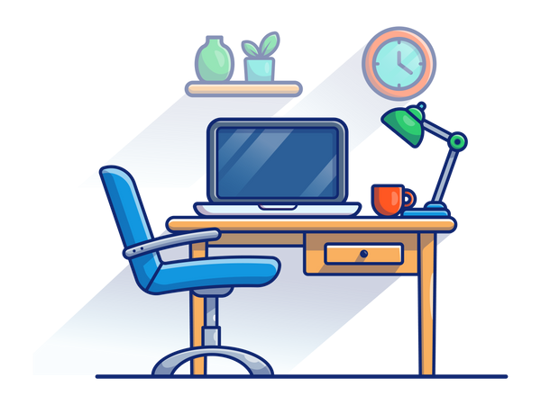 Working desk with office chair Illustration