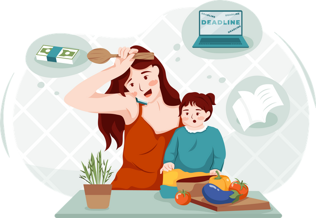 Working lady managing work with child Illustration