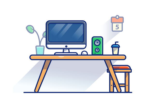 Working place with music system Illustration