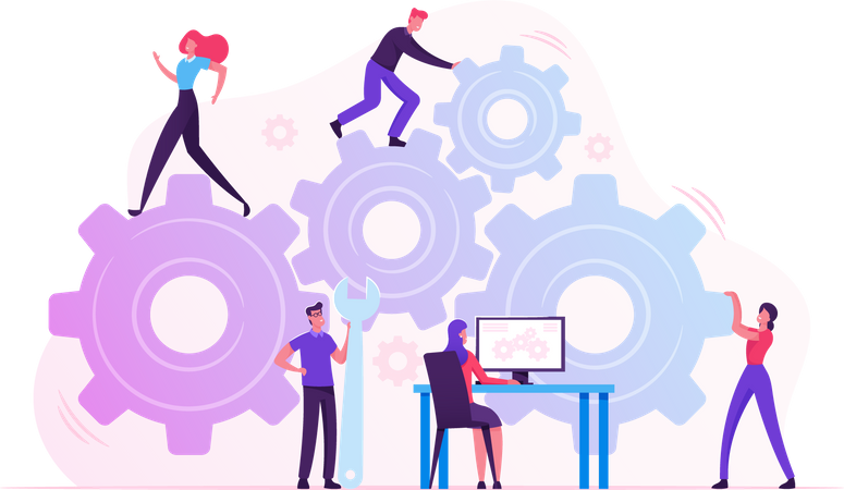 Working Routine Process and Teamwork Illustration