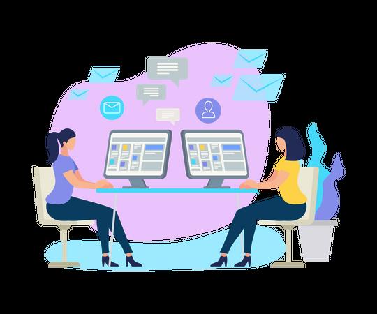 Working Women Sitting at Desks with Computer Illustration